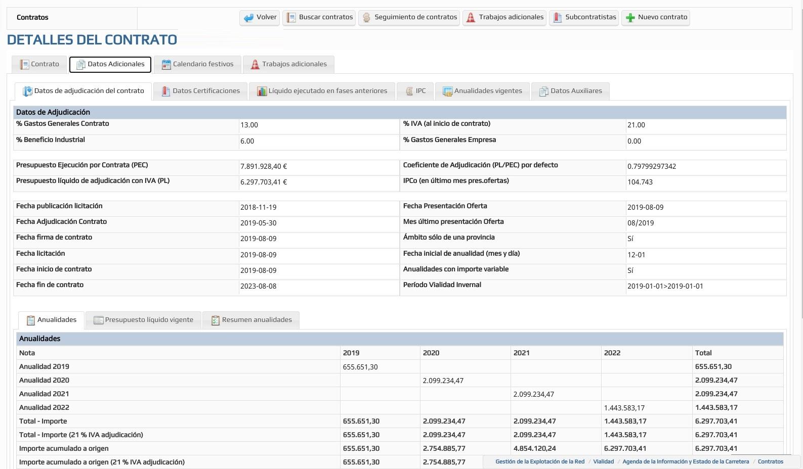 INFOSEG - Datos de contrato